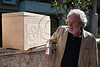 Prof. James D. Tabor explains the ornamentation on painstakingly reproduced replicas of the still buried ossuaries and the significance of Greek writings in regard to faith in the resurrection of Jesus. Jerusalem, Israel. 4-Apr-2012.