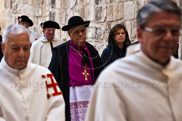 Archbishop Fouad Twal, Latin Patriarch of Jerusalem, arrives at the Church of the Holy Sepulchre to lead services on Holy Thursday. Jerusalem, Israel. 5-Apr-2012.
