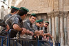 Policemen secure proceedings at the Church of the Holy Sepulchre on Good Friday. Jerusalem, Israel. 6-Apr-2012.