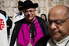 Latin Patriarch of Jerusalem, Archbishop Fouad Twal, leaves the Church of the Holy Sepulchre following a special Good Friday service. Jerusalem, Israel. 6-Apr-2012.