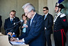 Coming out of the Children's Memorial Hall, Italian Prime Minister, Mario Monti, signs the guest book at Yad Vashem Holocaust Museum. Jerusalem, Israel. 9-Apr-2012.