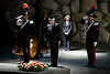 Italian Prime Minister, Mario Monti, and honor guard lay a wreath of flowers in memory of victims of the Holocaust at memorial ceremony in the Hall of Remembrance at Yad Vashem Holocaust Museum. Jerusalem, Israel. 9-Apr-2012.