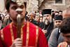 Thousands assemble at the Church of the Holy Sepulchre for Maundy Thursday services led by Theophilus III, Patriarch of Jerusalem, and the traditional Washing of the Feet ceremony. Jerusalem, Israel. 12-Apr-2012.