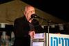 "Israeli actor Shlomo Vishinsky addresses audience at ""Draft For All"" campaign opposite PM's office and speaks of losing his son, Lior, eight years ago, on the Philadelphi Corridor near Gaza. Jerusalem, Israel. 21-Apr-2012."