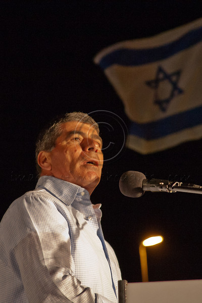 """Gavriel """"Gabi"""" Ashkenazi, former Chief of General Staff of IDF, addresses audience at """"Draft For All"""" campaign opposite PM's office and says: """"Serving our country is a great privilege and we are not suckers for doing so!"""" Jerusalem, Israel. 21-Apr-2012."""