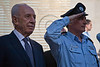 President Shimon Peres and Police Commissioner Yohanan Danino are welcomed at the entrance to a pre-Independence Day ceremony paying tribute to excelling police officers. Jerusalem, Israel. 23-Apr-2012.