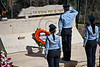 Police Commissioner Yohanan Danino lays a wreath and salutes the memory of the dead in a Memorial Day ceremony at Mt. Hertzl Military Cemetery. Jerusalem, Israel. 25-Apr-2012.