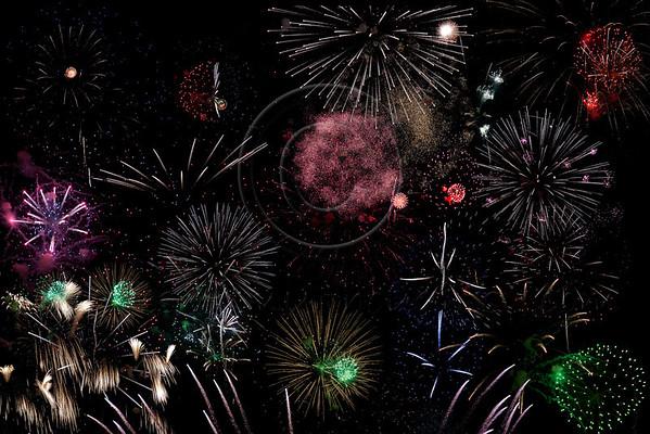 Composite image of fireworks display for Israel's 64th Independence Day on Mount Hertzl in Jerusalem. Jerusalem, Israel. 25-Apr-2012.