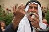 Sheik Sayach Al-Turi, of the unrecognized Bedouin village of Al-Arakib in the Negev, addresses the protesters at KKL-JNF's offices and calls the Israeli government 'racist'. Jerusalem, Israel. 29-Apr-2012.