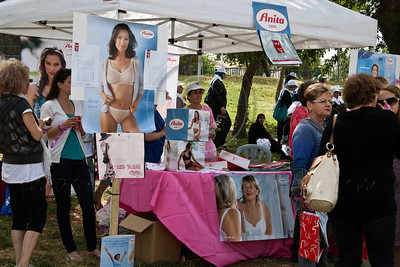 The Anita Care brand displays bras and underwear for breast amputees at a festive celebration of femininity at Sacher Park prior to the start of Komen's second annual Israel Race for the Cure. Jerusalem, Israel. 3-May-2012.