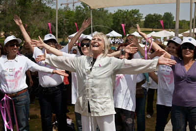 "Actress Nira Rabinovitz (center), Chi Kung practitioner, leads warm-up exercises and dancing after bravely stating: ""I proudly carry my none-breasts having lost them both twenty years ago!"" Jerusalem, Israel. 3-May-2012."