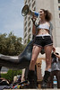 Organizer Sarit Shashkes summarizes and thanks participants at Jerusalem Slut walk end. Jerusalem, Israel. 4-May-2012.