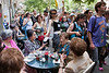 Jerusalem Slut Walk surprises diners at outdoor cafes in Jerusalem's downtown area. Jerusalem, Israel. 4-May-2012.