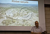 Archaeologist Prof. Yosef Garfinkel at a Hebrew University assembled press conference with aerial photo of fortified city Khirbet Qeiyafa in the Valley of Elah where extraordinary cultic artifacts were excavated. Jerusalem, Israel. 8-May-2012.