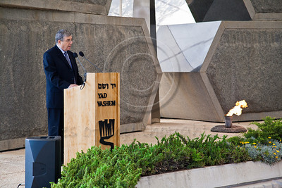 Avner Shalev, Chairman of the Yad Vashem Directorate, speaks at a ceremony commemorating Allied victory over Nazi Germany at Yad Vashem Holocaust Museum. Jerusalem, Israel. 9-May-2012.