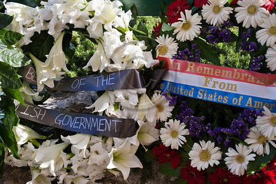 Wreaths of flowers representing countries taking part in ceremony commemorating Allied victory over Nazi Germany at Yad Vashem Holocaust Museum. Jerusalem, Israel. 9-May-2012.