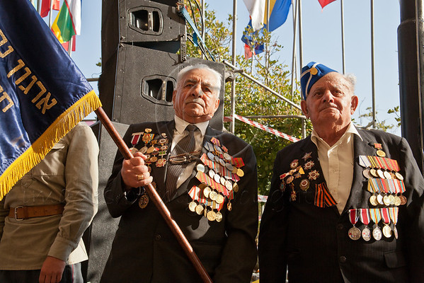 Jewish World War II veterans, the majority from former Soviet Union, take part in a ceremony commemorating Allied victory over Nazi Germany at Yad Vashem, along with Jewish partisans and diplomatic representatives from the Allied countries.