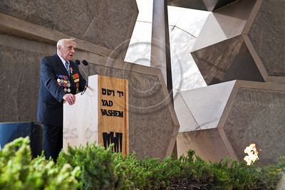 Baruch Shub, Chairman of the Organization of Partisans, Underground Fighters and Ghetto Rebels in Israel, speaks at a ceremony commemorating Allied victory over Nazi Germany at Yad Vashem Holocaust Museum. Jerusalem, Israel. 9-May-2012.