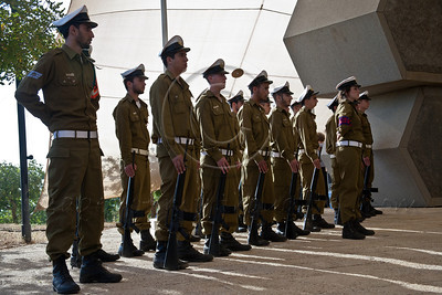 Soldiers of the IDF take part in a ceremony commemorating Allied victory over Nazi Germany at Yad Vashem Holocaust Museum. Jerusalem, Israel. 9-May-2012.