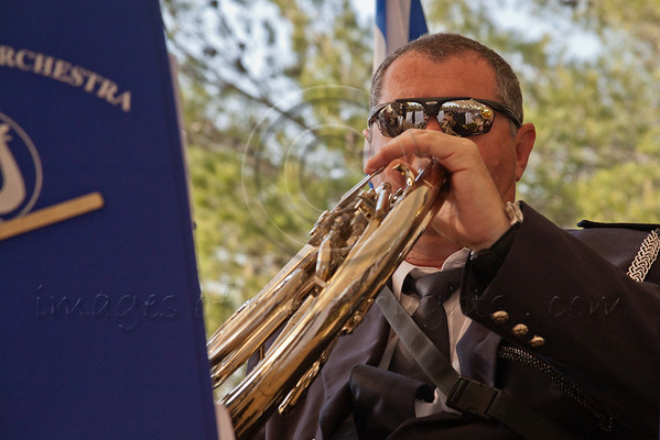 Israel Police Band plays at a ceremony commemorating Allied victory over Nazi Germany at Yad Vashem Holocaust Museum. Jerusalem, Israel. 9-May-2012.