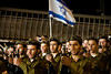 Golani Brigade soldiers sing the 'Tikva', the Israeli national anthem, concluding a ceremony at the Western Wall. Jerusalem, Israel. 10-May-2012.