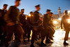 Golani Brigade soldiers march in as ceremony begins at the Western Wall. Jerusalem, Israel. 10-May-2012.