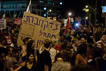 Protesters chant ?The nations demands social justice!? recycling successful mottos of the 2011 summer social protests. Jerusalem, Israel. 12-May-2012.