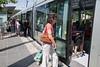 Passengers board Jerusalem Light Rail Transit tram at Herzl Boulevard Yeffe Nof Station. One year into operation daily passenger traffic reaches only 50 percent of expectations. Jerusalem, Israel. 22-May-2012.
