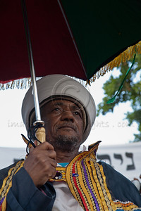 Ethiopian religious leaders, the Keisim, and elders protest de-legitimization of their religious leaders stripping them of rabbinical authority. Jerusalem, Israel. 23-May-2012.