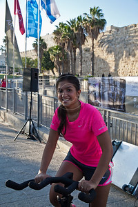 Several hundred take part in Jerusalem 2012 Spinning Marathon at the Jaffa Gate as part of International Sports Week organized by the Jerusalem Municipality encouraging physical fitness and a healthy lifestyle. Jerusalem, Israel. 31-May-2012.