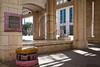 Jerusalem Mayor Nir Barkat inaugurates an art installation by designer Smadar Carmeli consisting of extreme life-like, colorful, cushions made of concrete, spread out near Kikar Safra City Hall Square. Jerusalem, Israel. 31-May-2012.
