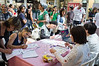 Volunteer donors line up to register for giving saliva samples to be included in the stem cell registry in a donor recruitment drive run by Ezer Mizion, a non-profit health support organization, at the Malcha Shopping Mall. Jerusalem, Israel. 31-May-2012.