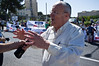 MK Zevulun Orlev of the New National Religious Party joins protesters and calls on government to vote in favor of proposed legislation preventing evacuation of Jewish homes and offering compensation to Palestinians proving land ownership. Jerusalem, Israel. 3-June-2012.