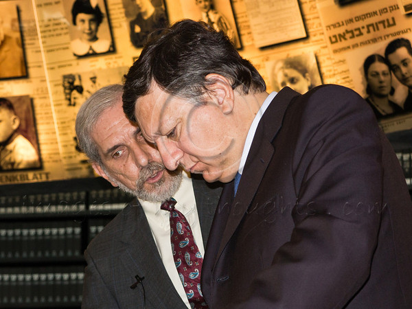 Dr. David Silberklang explains the importance and difficulties of researching and preserving the individual names of all Holocaust victims to President of the European Commission, Jose Manuel Barroso. Jerusalem, Israel. 9-July-2012.