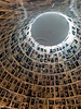 Enlared Pages of Testimony and photos of Holocaust victims are displayed on the cone-shaped ceiling in the Hall of Names at Yad Vashem Holocaust Museum. Jerusalem, Israel. 9-July-2012.