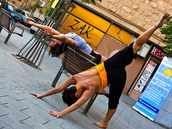 Kolben Dance Company dancers perform 'in the public sphere' something unheard of until recently in Jerusalem because of political pressure by ultra-Orthodox groups. Jerusalem, Israel. 12-July-2012.<br /> <br /> Be Free Israel stage a rally to introduce new Be Free Jerusalem consumer group supporting businesses open on the Jewish Sabbath in violation of municipal regulations to promote freedom of religion and pluralism in Israel as core democratic values.