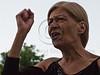 A protesting woman calls on PM Benjamin Netantahu to resign near the PM's residence. Jerusalem, Israel. 15-July-2012.