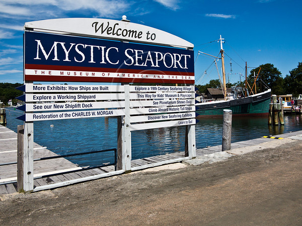 Mystic seaport is the nation's leading maritime museum consisting of a village, ships and 17 acres of exhibits depicting coastal life in New England in the 19th century. Mystic, Connecticut, USA. 21-July-2012.