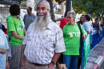 Deputy Mayor Pepe Alalo takes part in a demonstration against a military strike on Iran outside the PM?s residence. Jerusalem, Israel. 23-August-2012.  Some fifty demonstrators outside the ...