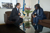 """Jerusalem Mayor Nir Barkat and reggae musician Alpha Blondy exchange small-talk in the mayor's office. Barkat: """"There is something in Jerusalem that unites the world"""". Blondy replies: """"God!"""". Jerusalem, Israel. 28-Aug-2012.<br /> <br /> Jerusalem Mayor Nir Barkat welcomes Alpha Blondy to Jerusalem in his office at City Hall, on the occasion of Blondy's fourth visit to Israel. Alpha Blondy will perform tonight at the Jerusalem Reggae Festival in Sacher Park."""
