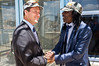 Jerusalem Mayor Nir Barkat and reggae musician Alpha Blondy exchange a handshake and numerous smiles on a balcony outside the mayor's office overlooking the city. Jerusalem, Israel. 28-Aug-2012.<br /> <br /> Jerusalem Mayor Nir Barkat welcomes Alpha Blondy to Jerusalem in his office at City Hall, on the occasion of Blondy's fourth visit to Israel. Alpha Blondy will perform tonight at the Jerusalem Reggae Festival in Sacher Park.