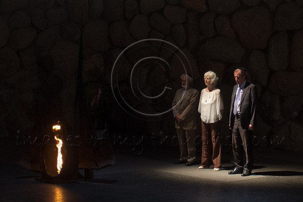 Grandson Olivier de Menthon (L), survivor Dina Godschalk (C) and French Ambassador to Israel HE Christoph Bigot (R) take part in a memorial ceremony at Yad Vashem Holocaust Museum. Jerusalem, Israel. 5-September-2012.<br /> <br /> Yad Vashem holds a ceremony posthumously honoring Count Henry de Menthon as Righteous Among the Nations. The event takes place in the presence of the survivor Dina Godschalk and French Ambassador to Israel HE Christoph Bigot, family and friends.