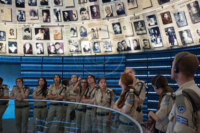 IDF soldiers tour The Hall of Names at Yad Vashem Holocaust Museum, displaying of 600 photographs and fragments of Pages of Testimony. Jerusalem, Israel. 5-September-2012.  Italian FM Gulio Terzi visits Yad Vashem Holocaust Museum. The Foreign Minister toured the museum, participated in a memorial ceremony and signed the museum guest book.