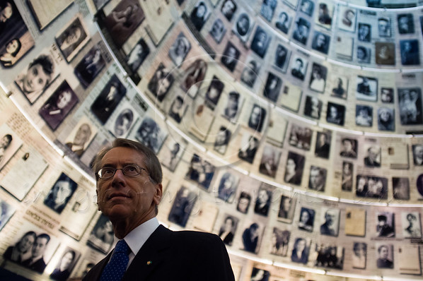 Italian Foreign Minister Gulio Terzi gazes up at enlarged Pages of Testimony displayed on the ceiling of the Hall of Names at Yad Vashem.. Jerusalem, Israel. 5-September-2012.<br /> <br /> Italian FM Gulio Terzi visits Yad Vashem Holocaust Museum. The Foreign Minister toured the museum, participated in a memorial ceremony and signed the museum guest book.