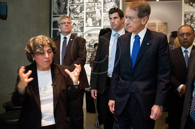 Italian Foreign Minister Gulio Terzi  (R) tours the main museum exhibitions at Yad Vashem Holocaust Museum. Jerusalem, Israel. 5-September-2012.  Italian FM Gulio Terzi visits Yad Vashem Holocaust Museum. The Foreign Minister toured the museum, participated in a memorial ceremony and signed the museum guest book.