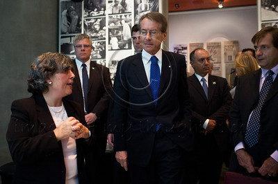 Italian Foreign Minister Gulio Terzi (C) tours the main museum exhibitions at Yad Vashem Holocaust Museum. Jerusalem, Israel. 5-September-2012.  Italian FM Gulio Terzi visits Yad Vashem Holocaust Museum. The Foreign Minister toured the museum, participated in a memorial ceremony and signed the museum guest book.
