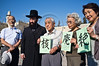 "Hibakusha, Hiroshima children survivors, are greeted by Rabbi Shmuel Rabinovitz at the Western Wall. Jerusalem, Israel. 10-September-2012. <br /> <br /> Hibakusha, survivors of the August 6th, 1945 bombing of Hiroshima, visit Israel to promote  nuclear abolition. Calling ""No More Hiroshimas, No More Nagasakis!"" they place their prayers between the Kotel stones."