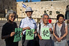 "Hibakusha, Hiroshima children survivors, prepare three pages of kanji that together comprise ""nuclear abolition"" at the Western Wall. Jerusalem, Israel. 10-September-2012. <br /> <br /> Hibakusha, survivors of the August 6th, 1945 bombing of Hiroshima, visit Israel to promote  nuclear abolition. Calling ""No More Hiroshimas, No More Nagasakis!"" they place their prayers between the Kotel stones."