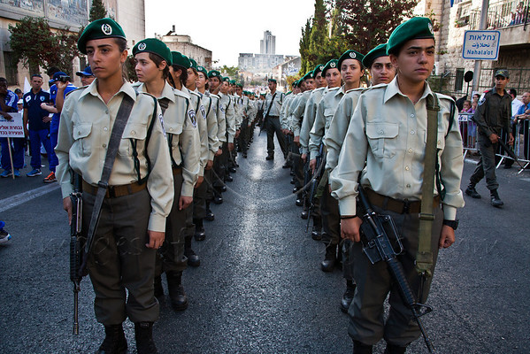 Border Police women take part in the annual Sukkoth Jerusalem Parade. Jerusalem, Israel. 4-October-2012.<br /> <br /> An estimated ten thousand people march in the annual Jerusalem Parade including participating delegations from around the world, Israeli industry, banks and military personnel.