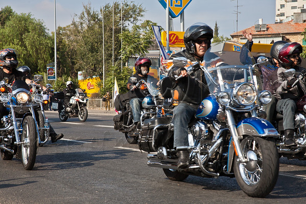 A group of Harley Davidson motorcycle riders takes part in the annual Sukkoth Jerusalem Parade. Jerusalem, Israel. 4-October-2012.<br /> <br /> An estimated ten thousand people march in the annual Jerusalem Parade including participating delegations from around the world, Israeli industry, banks and military personnel.